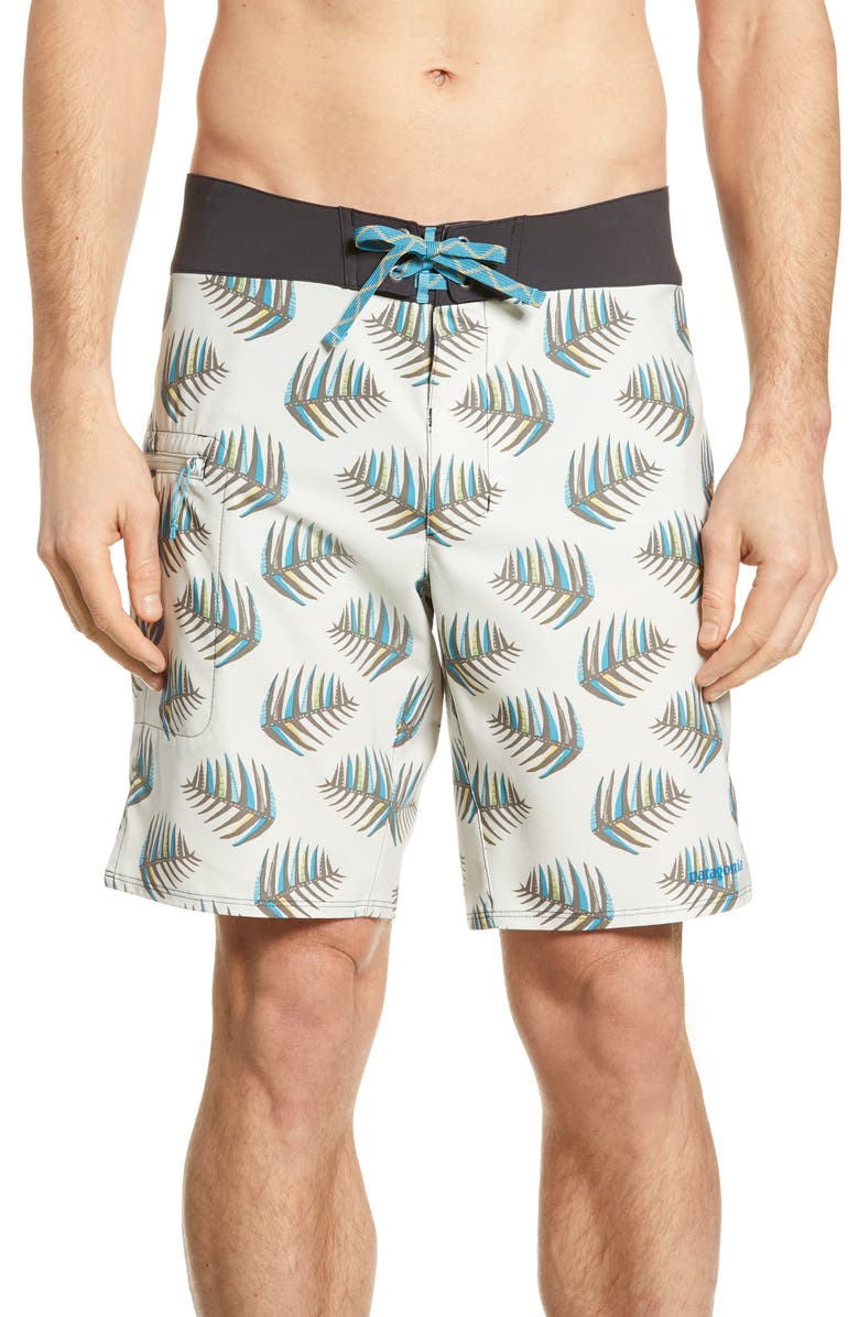 PATAGONIA Stretch Planing Swim Trunks, Main, color, PALMS OF MY HEART DYNO WHITE