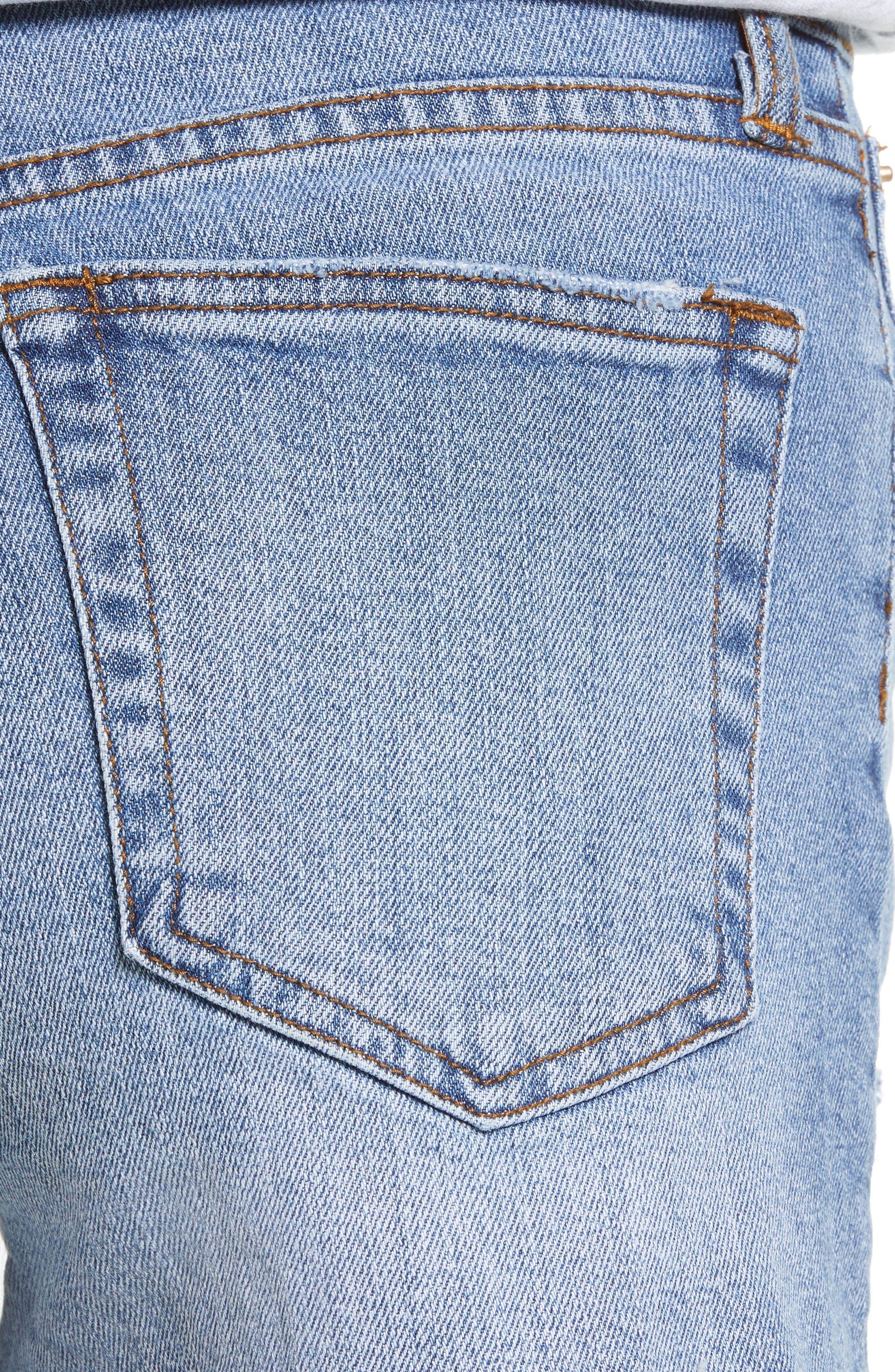 ,                             Kate High Waist Denim Shorts,                             Alternate thumbnail 5, color,                             LIGHT WASH