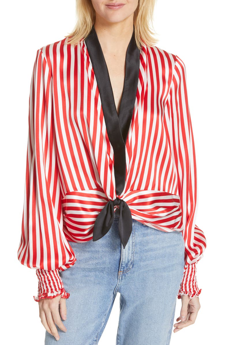 CAROLINE CONSTAS Bette Tie Silk Blouse, Main, color, RED