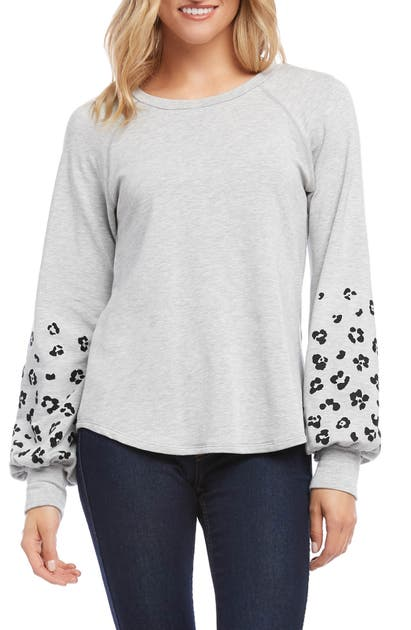 Karen Kane T-shirts PRINT SLEEVE SWEATSHIRT