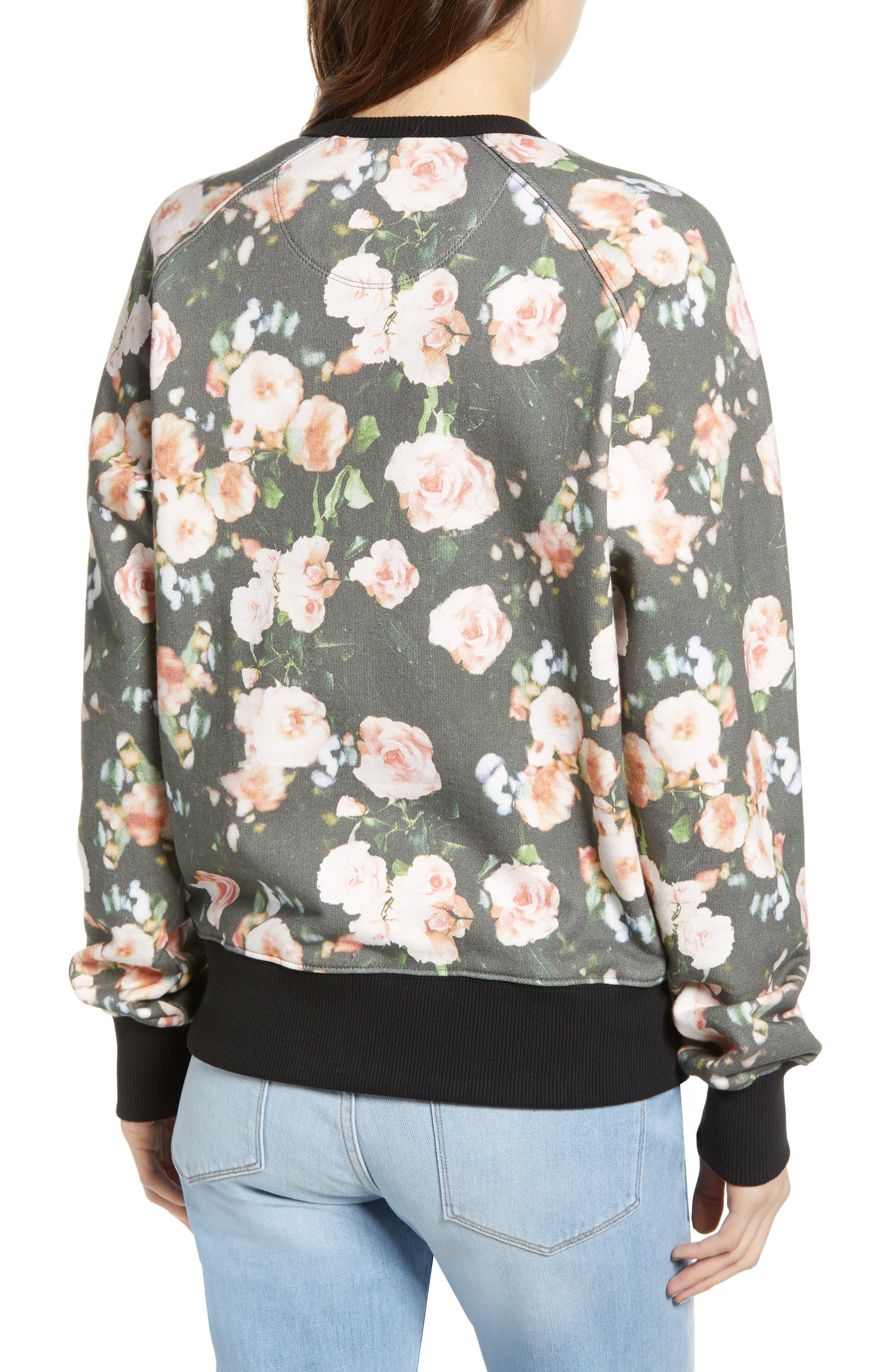 ,                             Love Roses Sweatshirt,                             Alternate thumbnail 2, color,                             BLACK MULTI