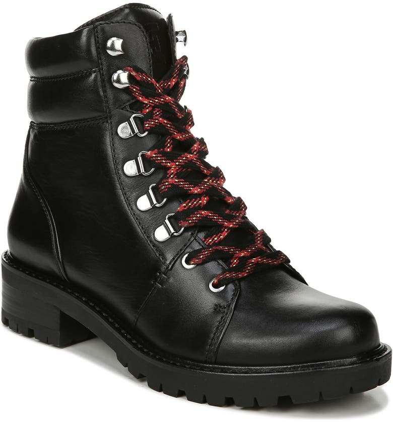 SAM EDELMAN Tamia Lace-Up Hiking Boot, Main, color, BLACK LEATHER