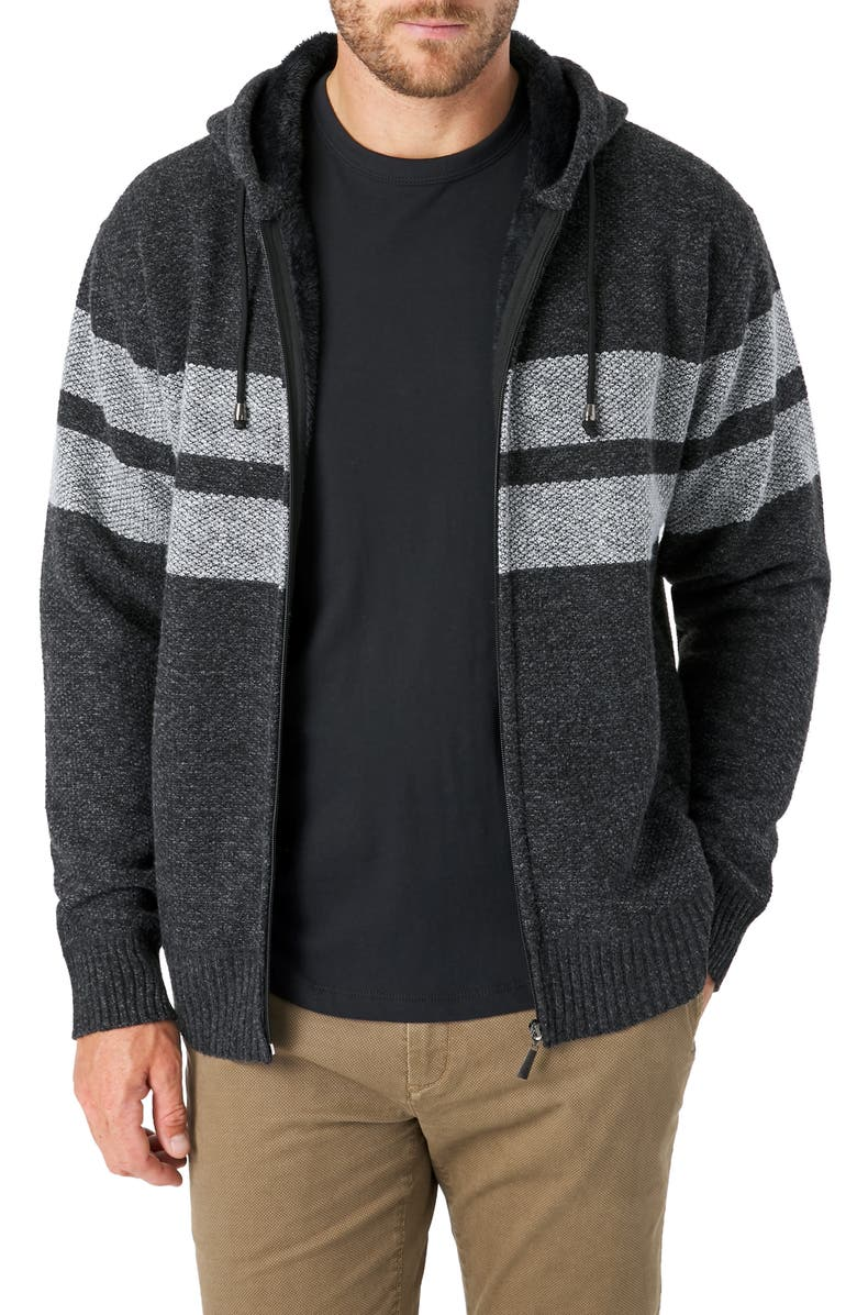 7 DIAMONDS Dublin Regular Fit Hooded Zip Sweater, Main, color, CHARCOAL
