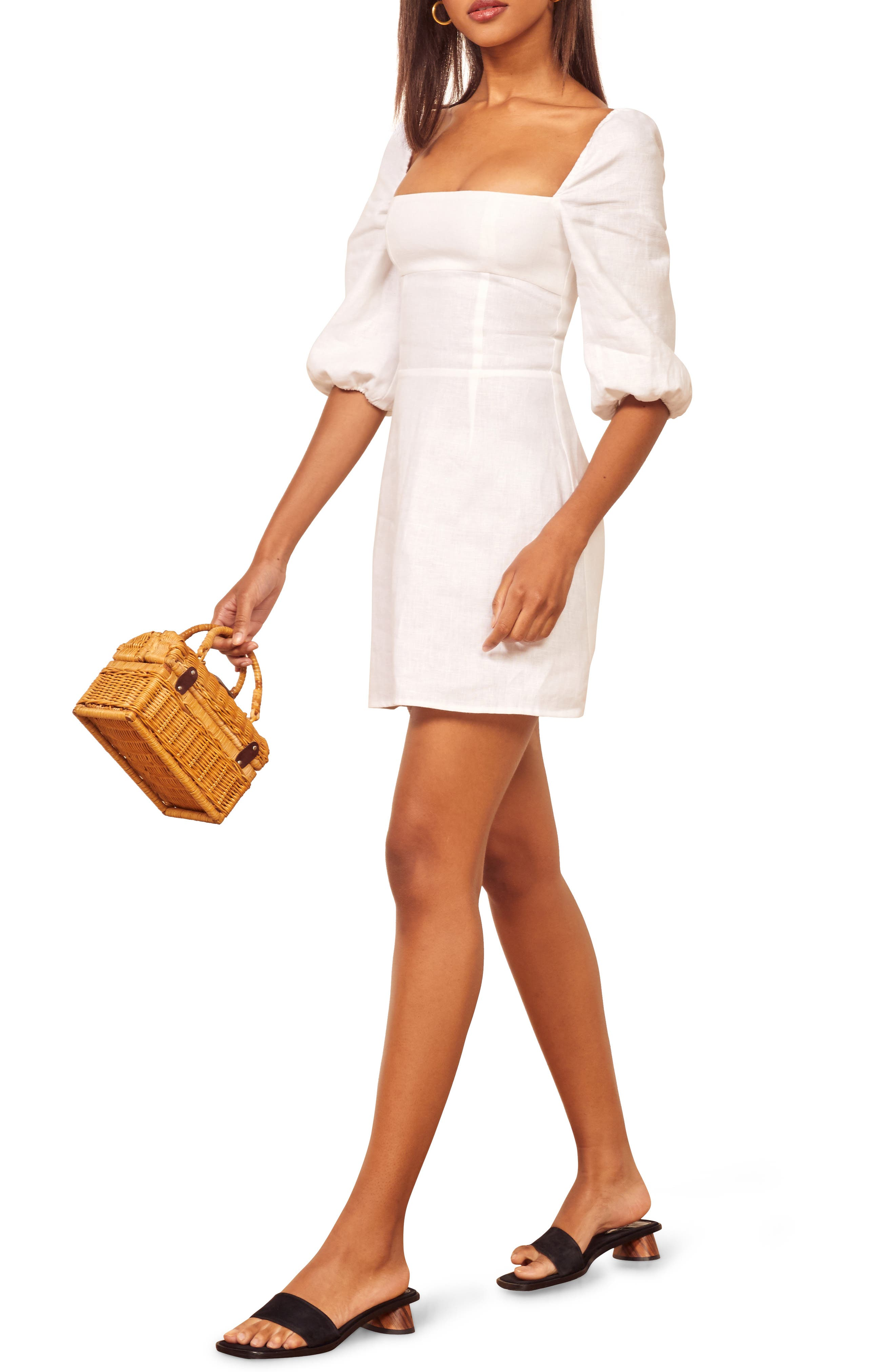 Reformation Hampstead Linen Minidress, White