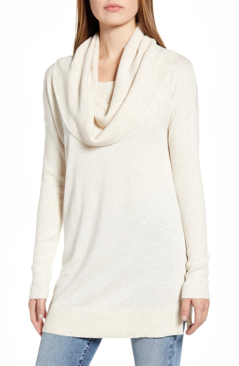 CASLON<SUP>®</SUP> Side Slit Convertible Cowl Neck Tunic, Main, color, TAN COBBLESTONE