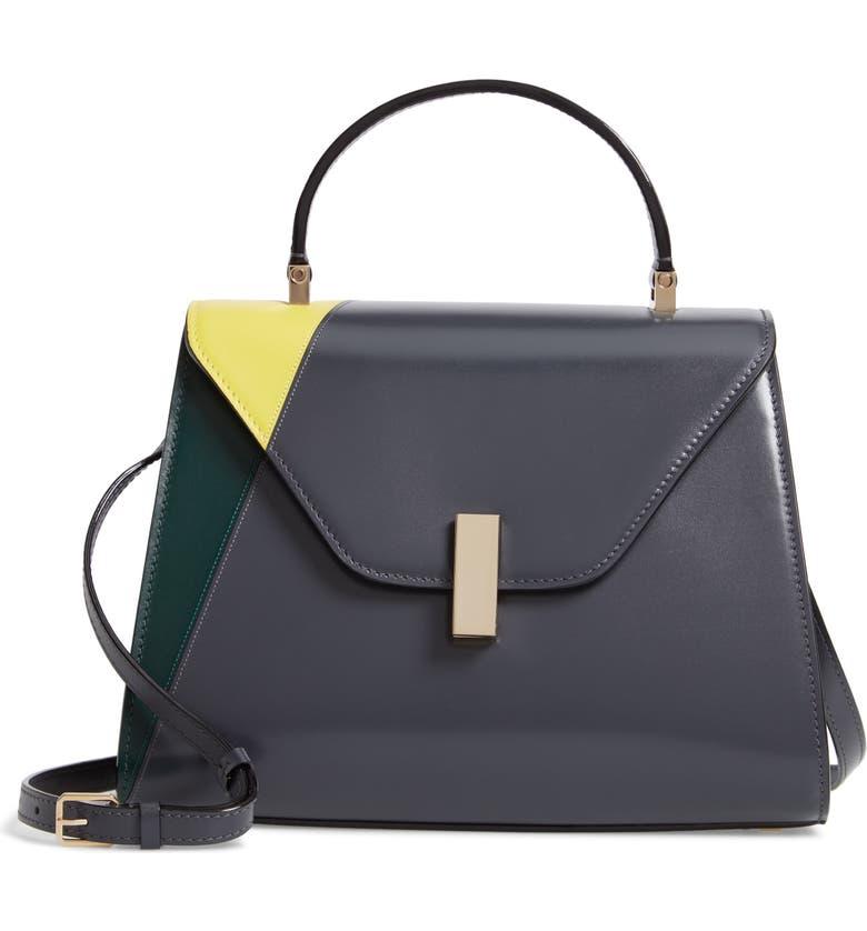 VALEXTRA Iside Medium Top Handle Bag, Main, color, ASPHALTO/ VERDE ENGLESE/ LIME