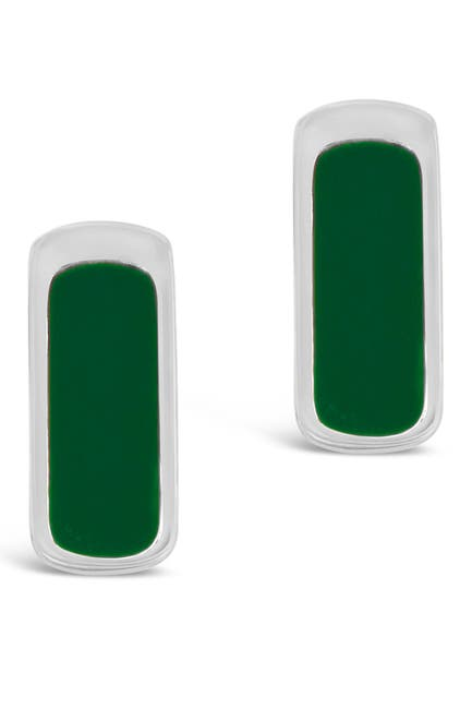 Image of Sterling Forever Rhodium Plated Brass Green Enamel Bar Stud Earrings