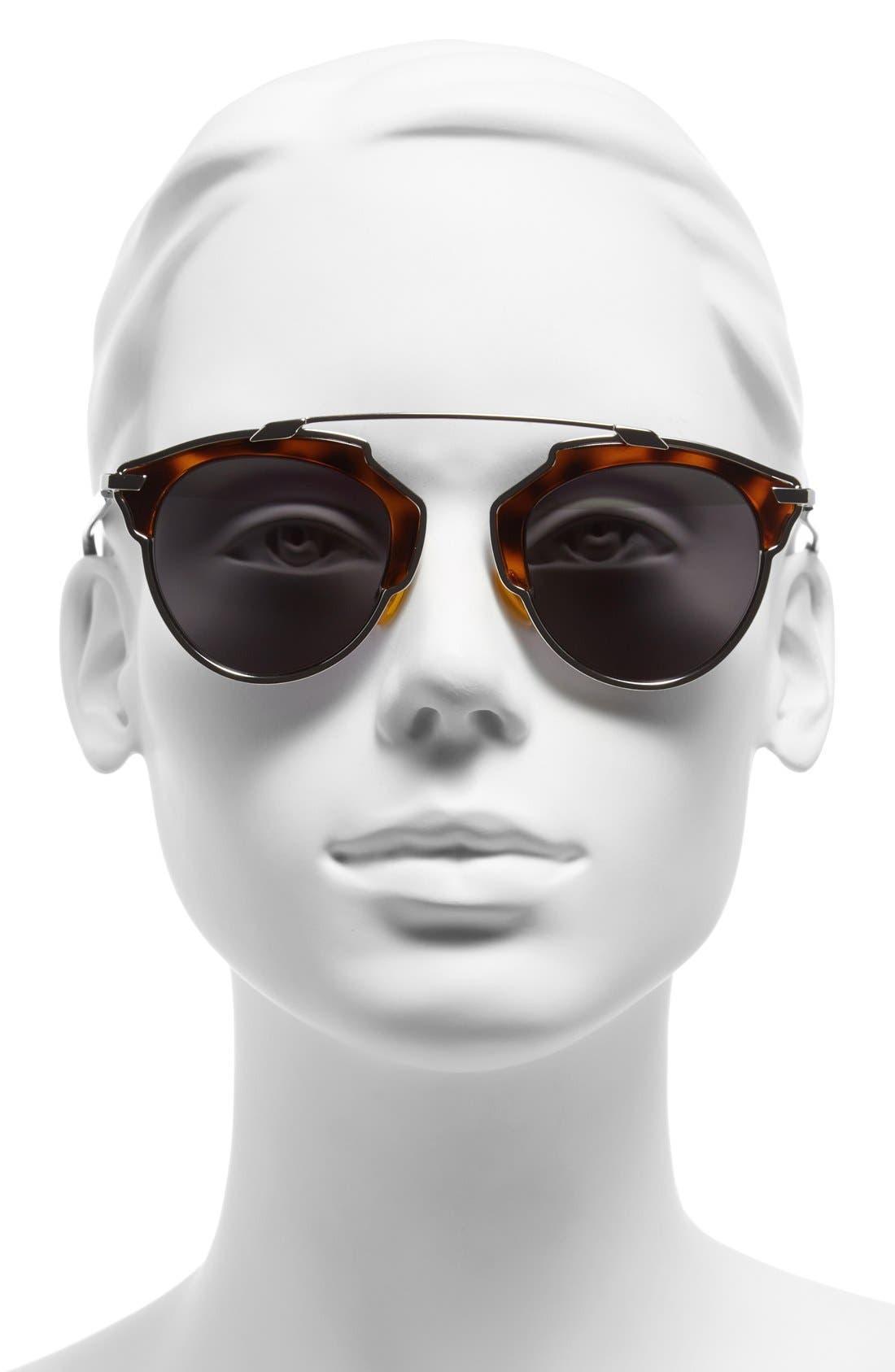 ,                             So Real 48mm Brow Bar Sunglasses,                             Alternate thumbnail 32, color,                             042