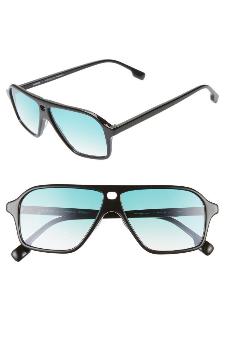 MONSE X MORGENTHAL FREDERICS Traci 57mm Square Sunglasses, Main, color, BLACK/ GREEN