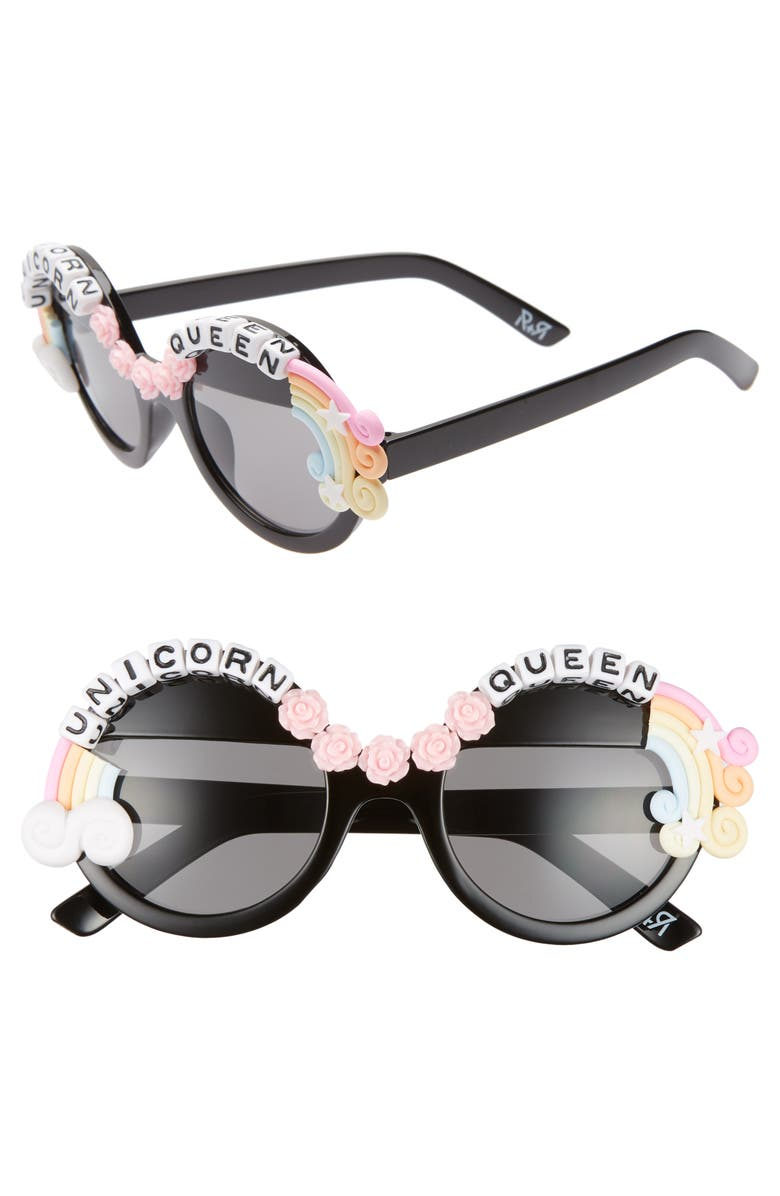 RAD + REFINED Unicorn Queen Round Sunglasses, Main, color, BLACK/ PINK