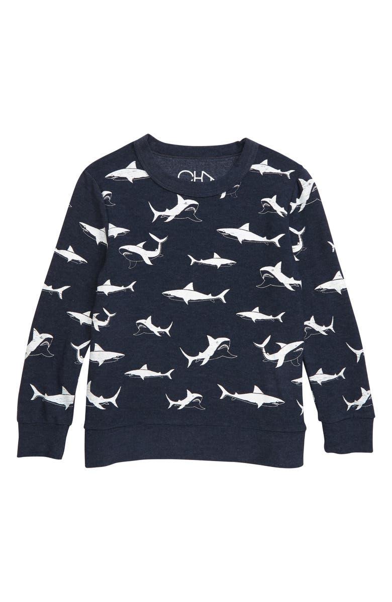 CHASER Happy Sharks Cozy Fleece Sweatshirt, Main, color, 414