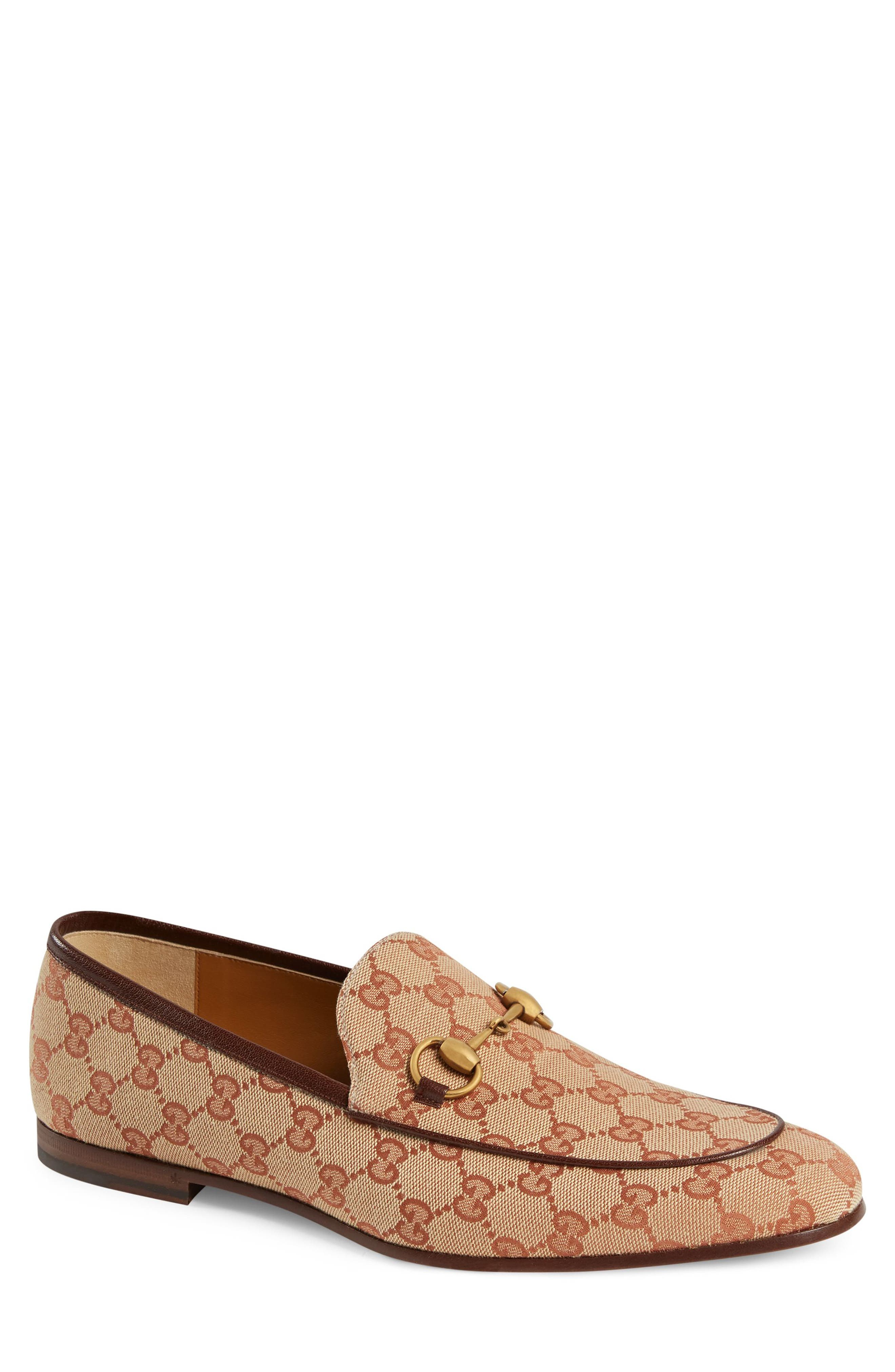 1950s Mens Shoes: Saddle Shoes, Boots, Greaser, Rockabilly Mens Gucci Jodraan Gg Canvas Loafer $695.00 AT vintagedancer.com