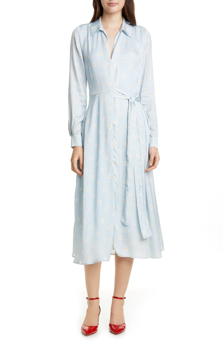 STINE GOYA Baily Long Sleeve Midi Shirtdress, Main, color, DAISY BLUE