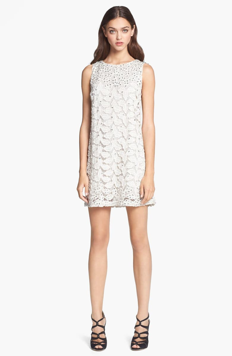 ALICE + OLIVIA Sleeveless Embroidered Shift Dress, Main, color, 102