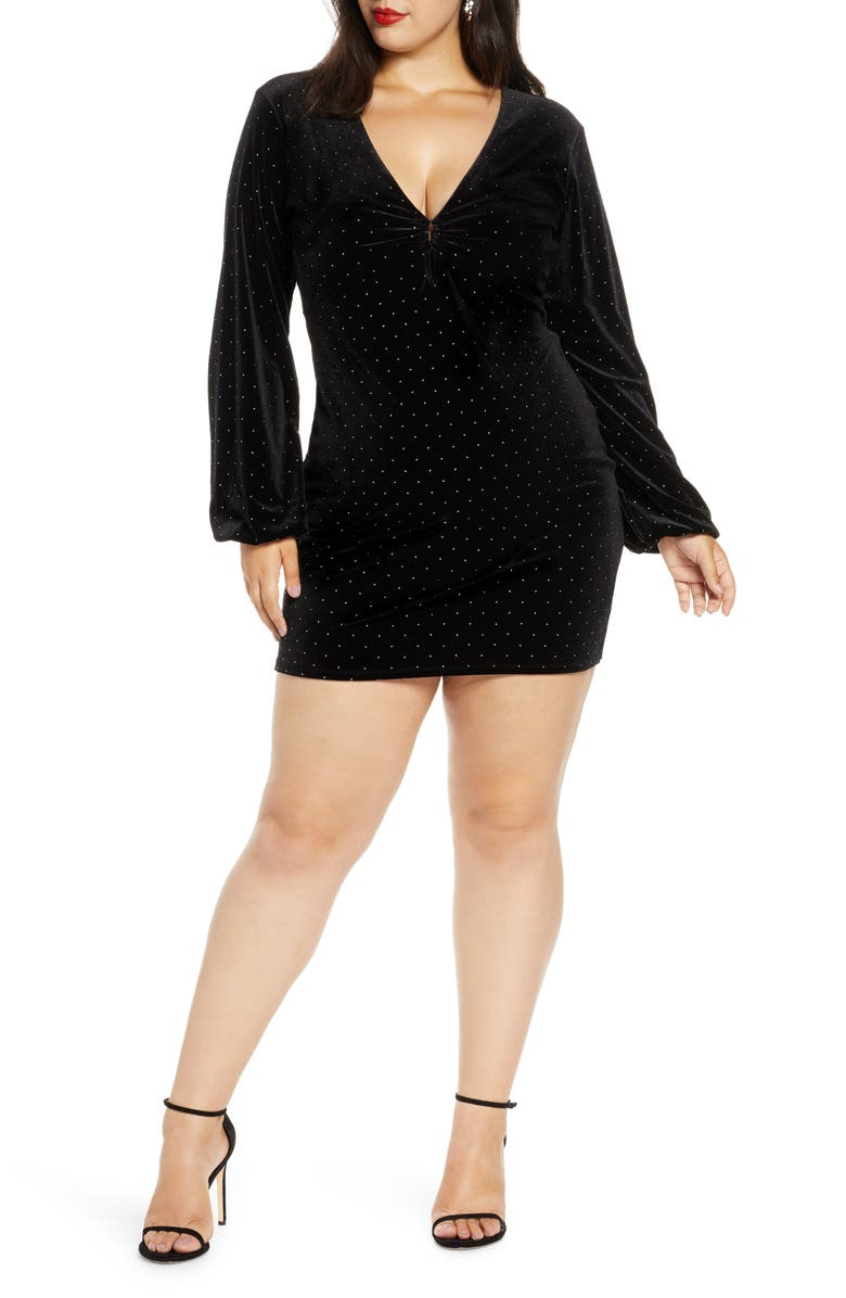 LEITH Velour Minidress, Main, color, BLACK FOIL DOT