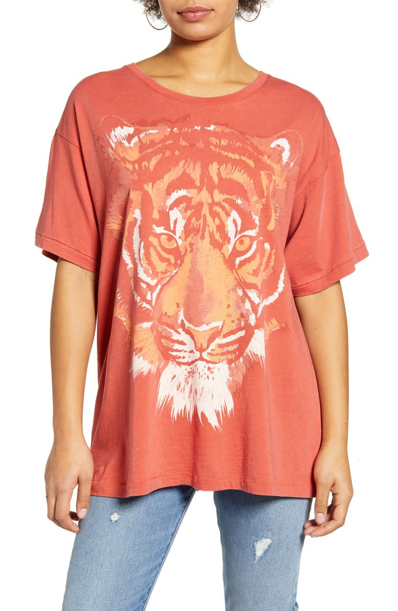 WRANGLER Oversized Tiger Graphic Tee, Main, color, SUNDRIED TOMATO