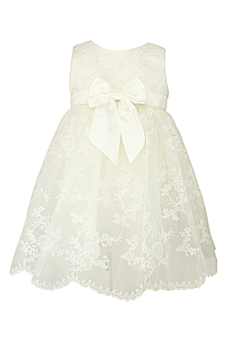 POPATU Embroidered Tulle Dress, Main, color, WHITE
