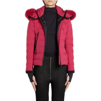 Moncler Lamoura Waterproof Quilted Down Puffer Coat With Removable Genuine Fox Fur Trim, (fits like 2-4 US) - Pink