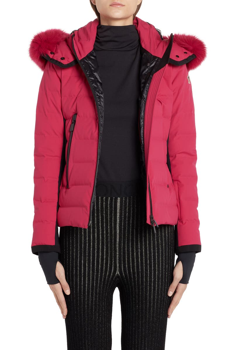 MONCLER Lamoura Waterproof Quilted Down Puffer Coat with Removable Genuine Fox Fur Trim, Main, color, MAGENTA