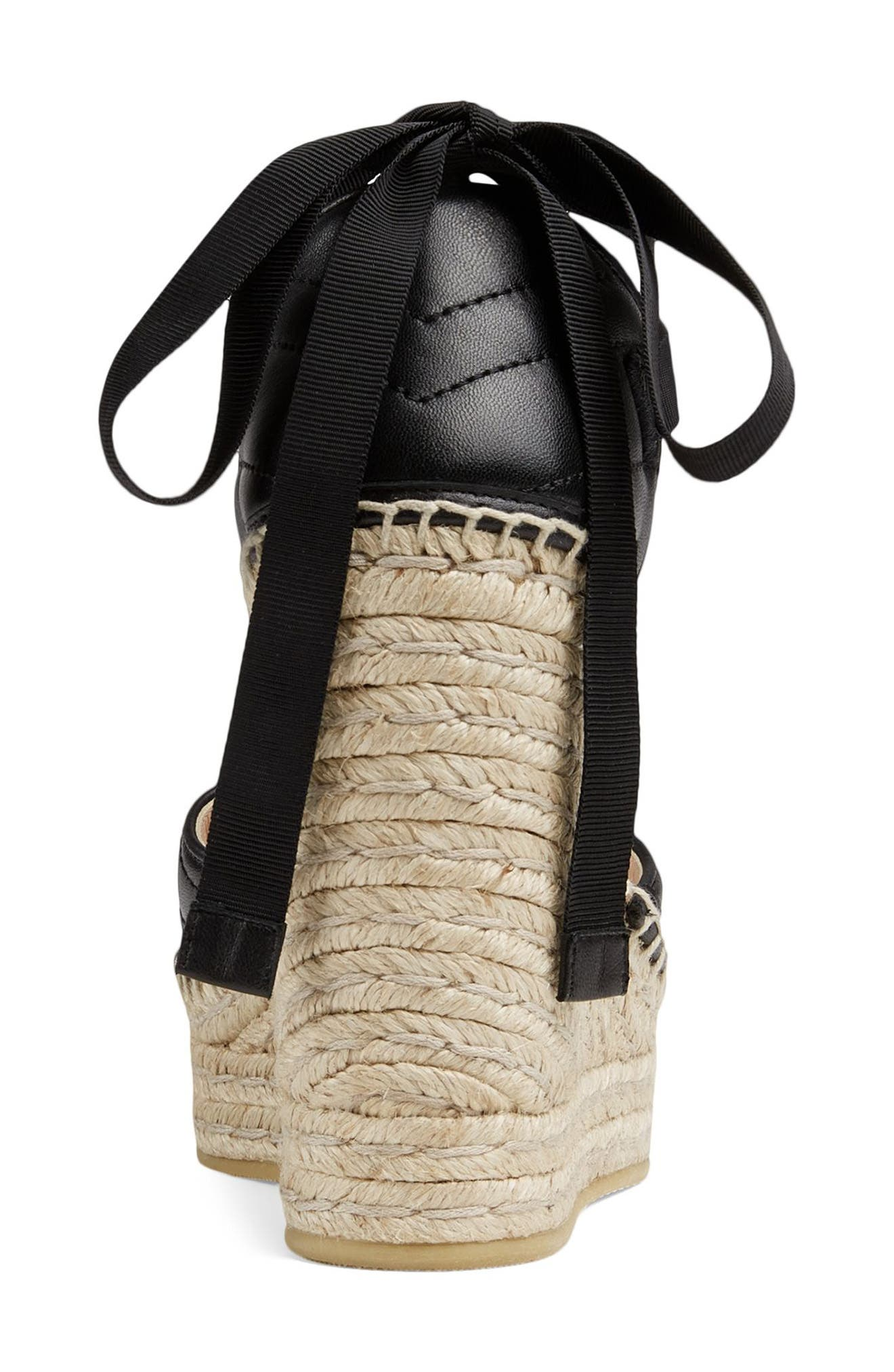 ,                             Palmyra Ankle Tie Espadrille Wedge,                             Alternate thumbnail 5, color,                             BLACK