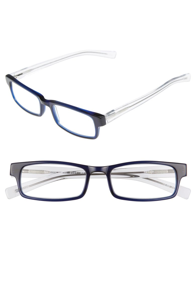 EYEBOBS I Ball 52mm Reading Glasses, Main, color, NAVY WITH CLEAR