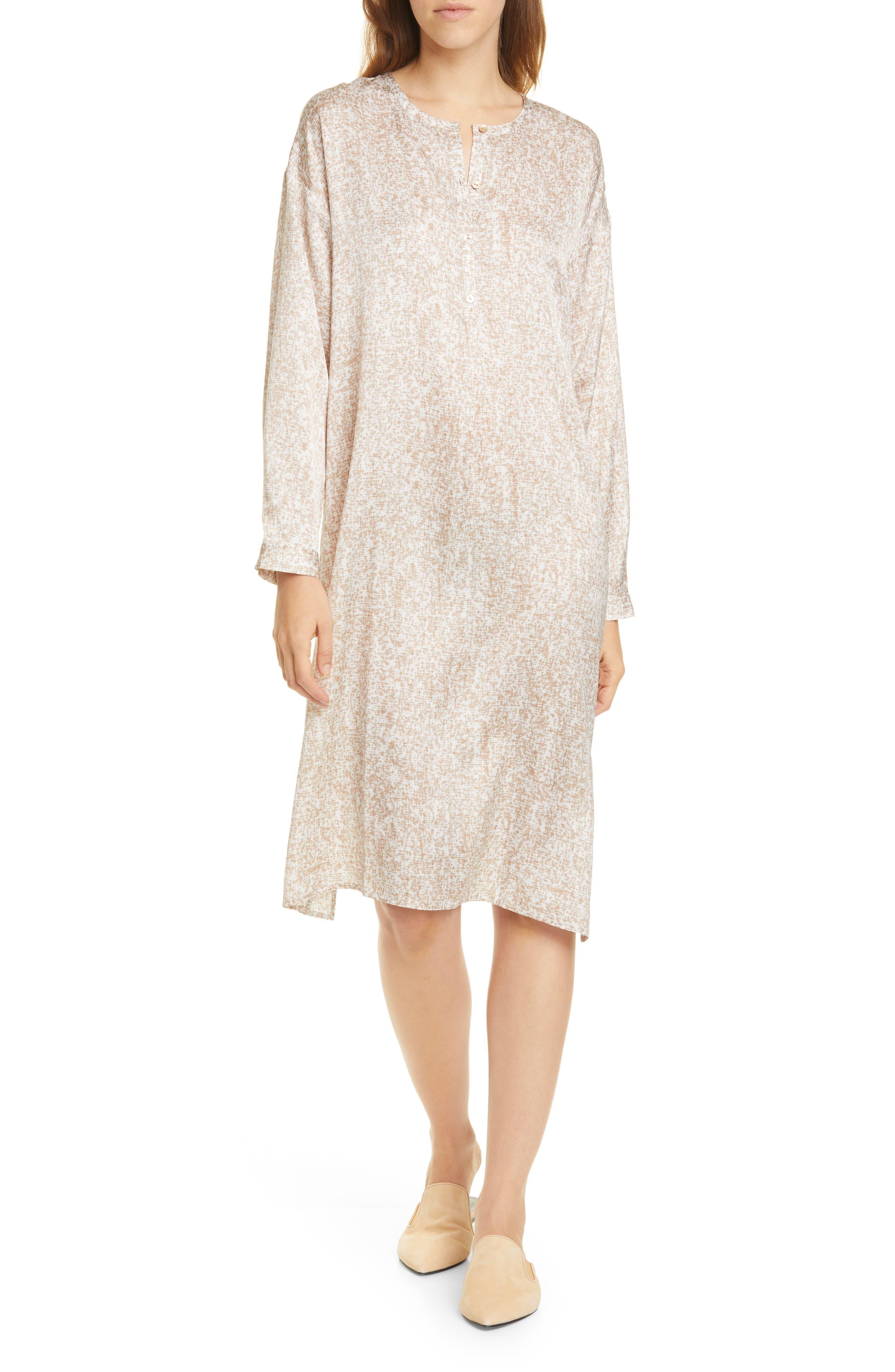 Eileen Fisher Silk & Organic Cotton Long Sleeve Henley Dress | Nordstrom