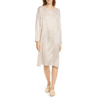 Eileen Fisher Silk & Organic Cotton Long Sleeve Henley Dress, Beige