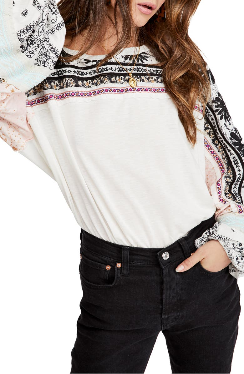 FREE PEOPLE Tripoli Embroidered Top, Main, color, WHITE