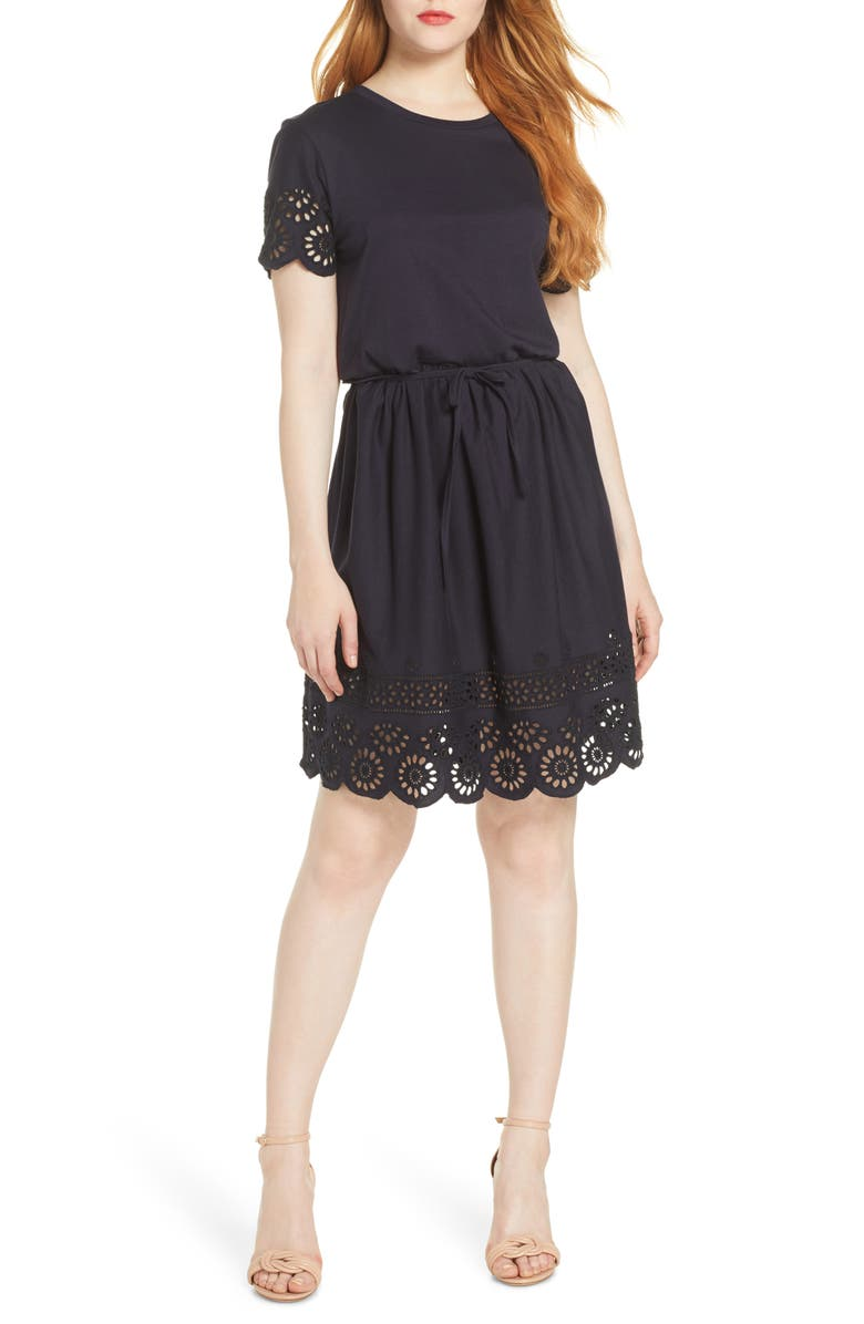 FRENCH CONNECTION Santoline Cotton Eyelet Jersey Fit & Flare Dress, Main, color, UTILITY BLUE