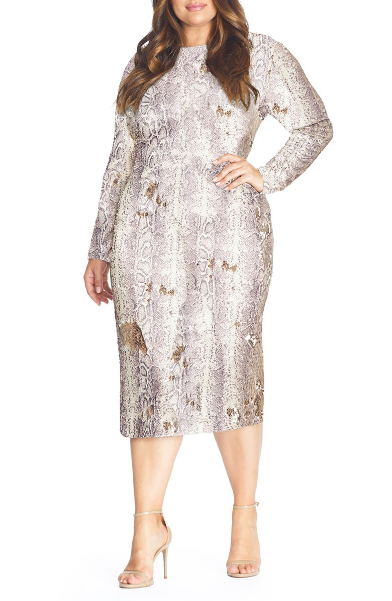 DRESS THE POPULATION Emery Long Sleeve Sequin Cocktail Dress, Main, color, PYTHON GOLD MULTI