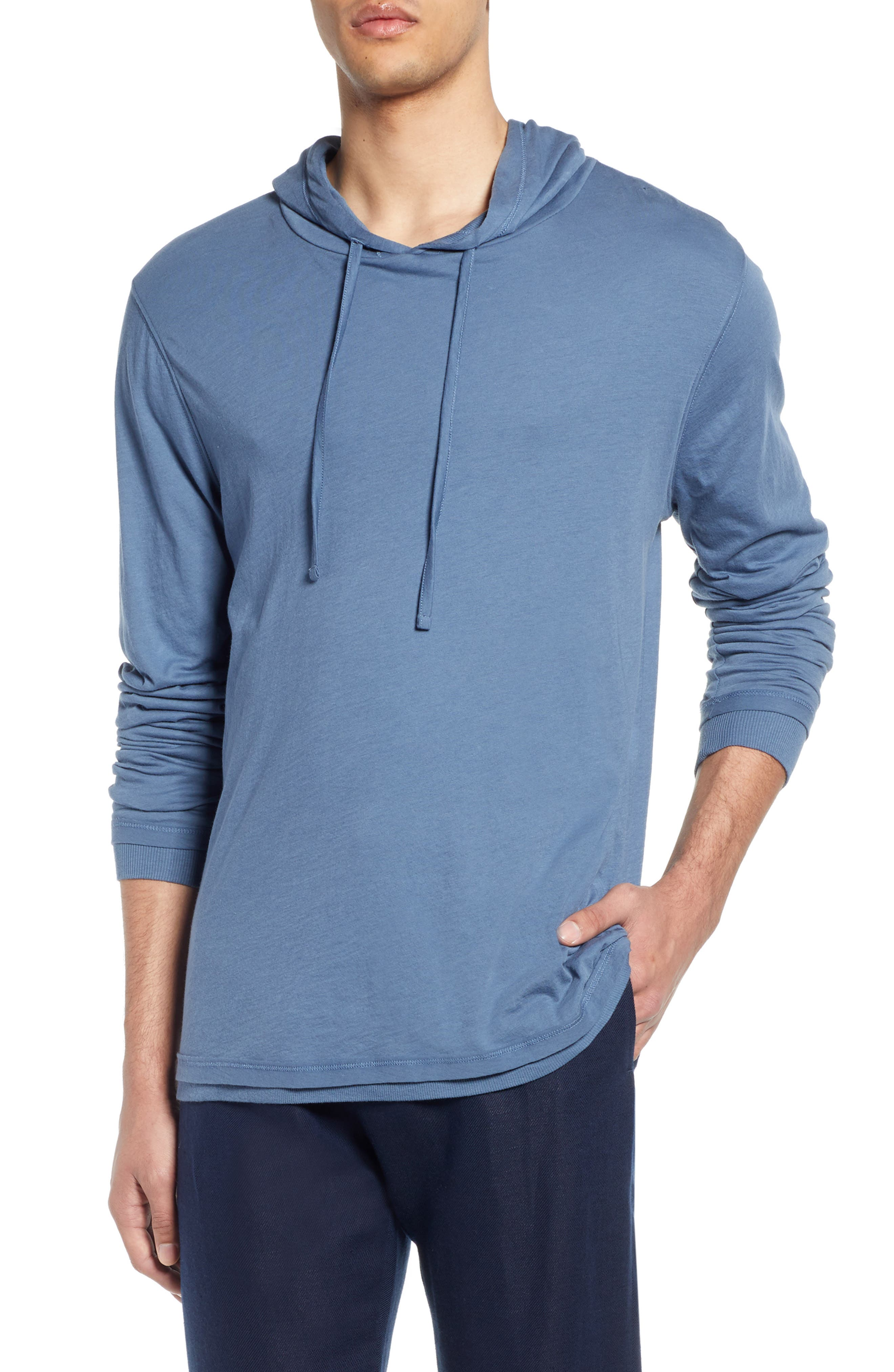 Double Layer Solid Hoodie, Main, color, BERING SEA
