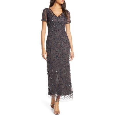 Pisarro Nights Beaded Longline Gown, Grey