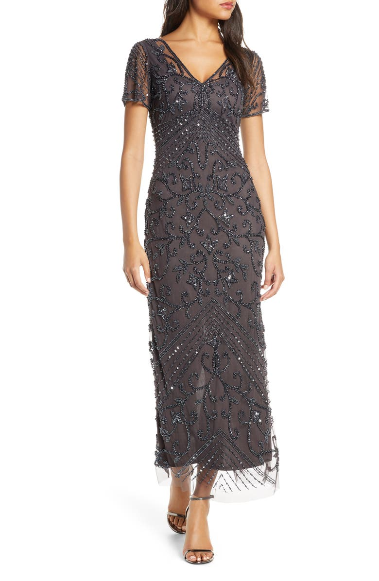 PISARRO NIGHTS Beaded Mesh Column Gown, Main, color, SLATE