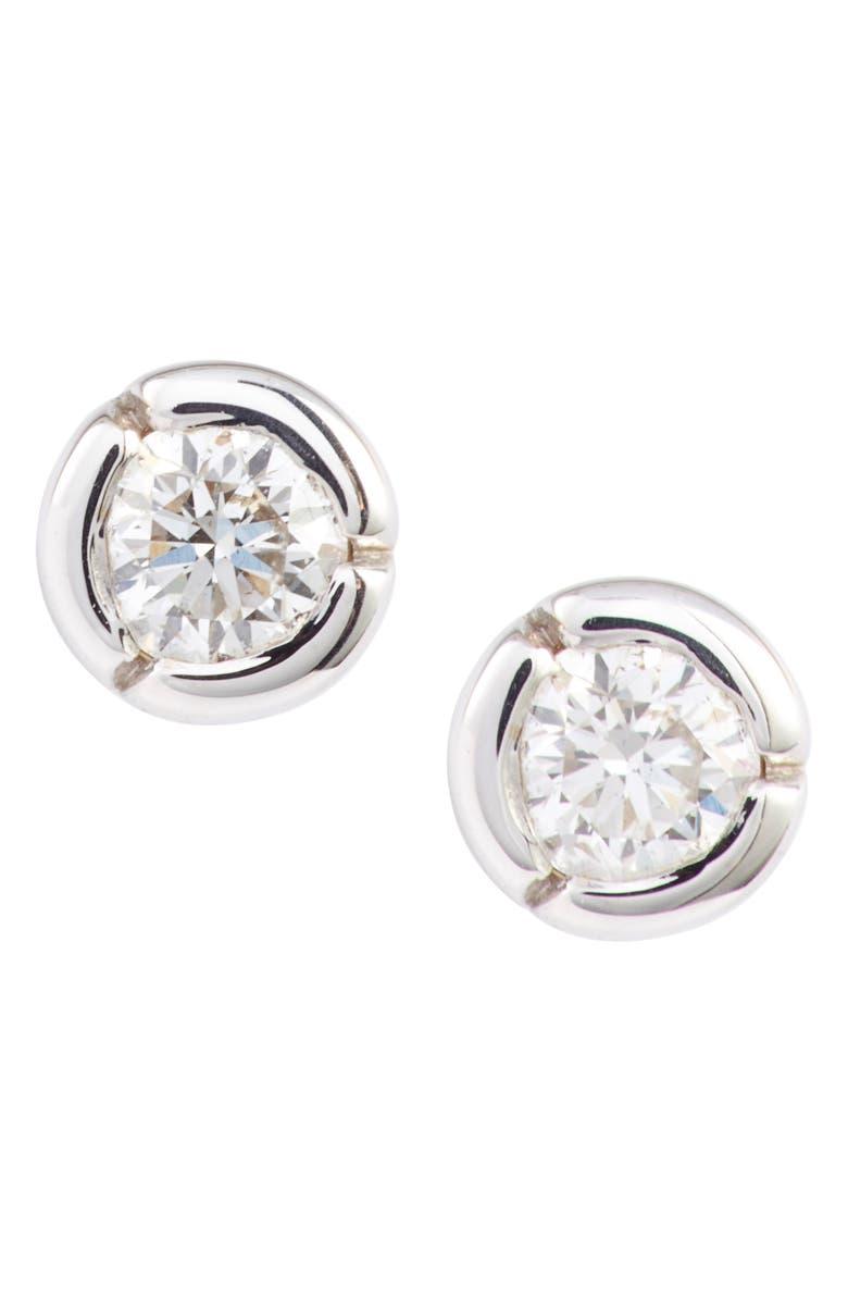 BONY LEVY Petite Bezel Diamond Stud Earrings, Main, color, WHITE GOLD/ DIAMOND