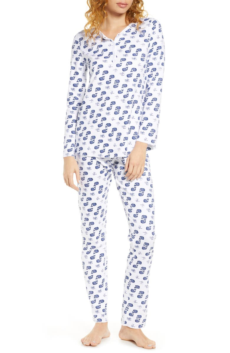 ROLLER RABBIT Moby Whale Pajamas, Main, color, BLUE
