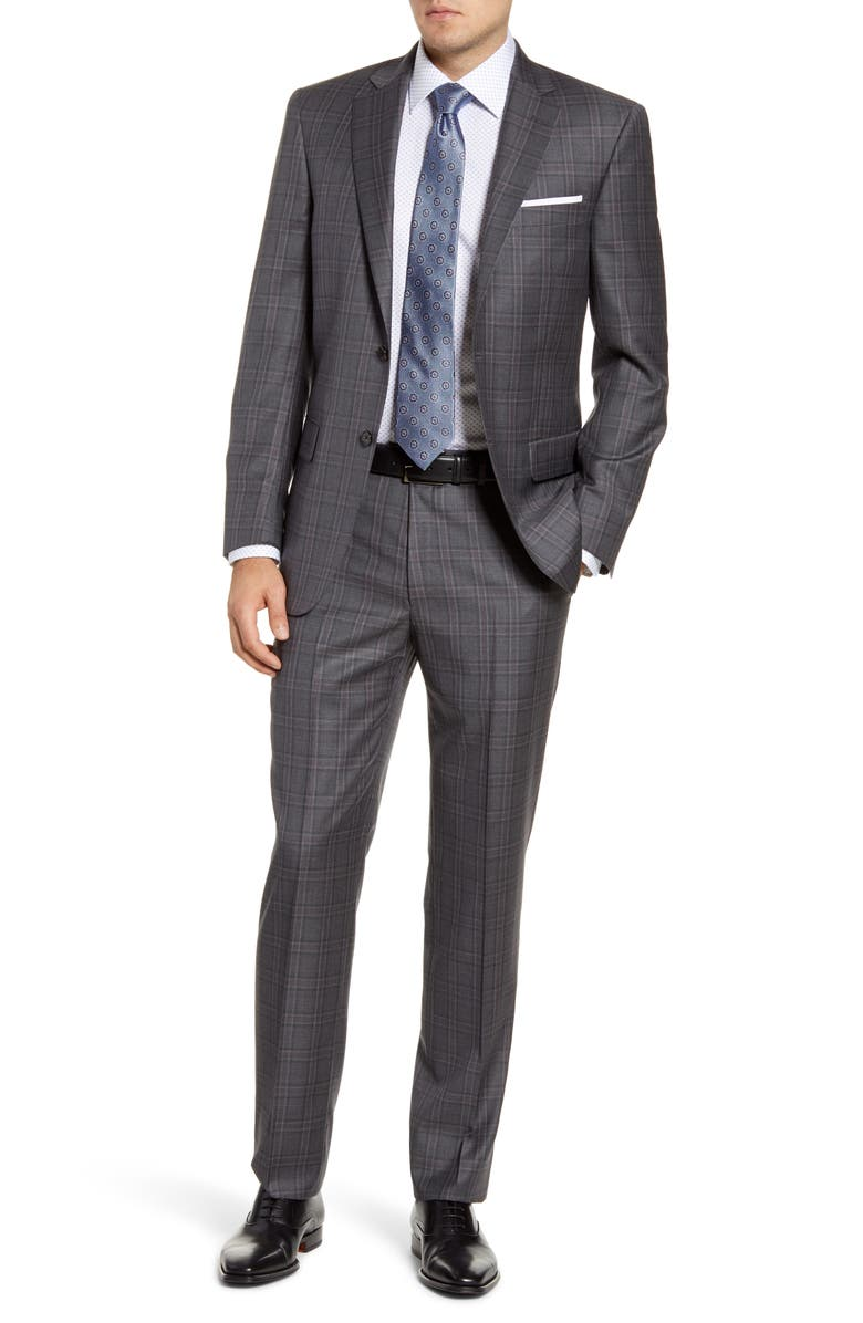 HART SCHAFFNER MARX Classic Fit Plaid Wool Suit, Main, color, MEDIUM GREY