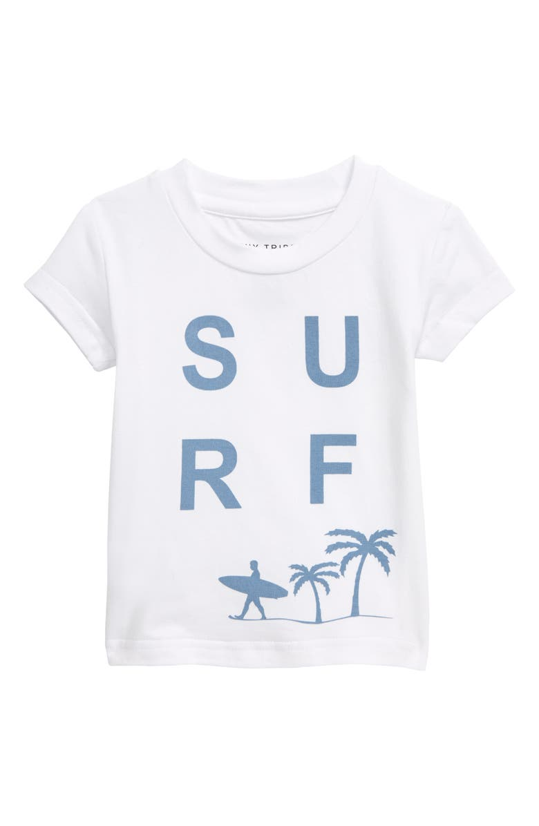 TINY TRIBE Surf Graphic T-Shirt, Main, color, WHITE