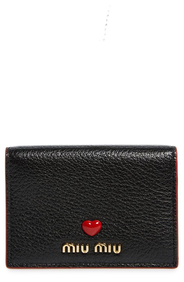 MIU MIU Madras Love Leather French Wallet, Main, color, NERO