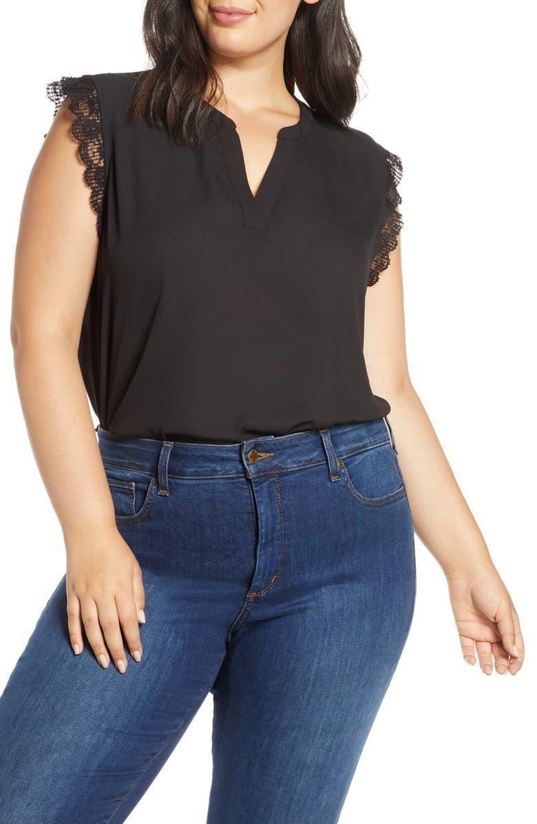 GIBSON x City Safari Roselyn Weaver Split Neck Lace Trim Top, Main, color, BLACK