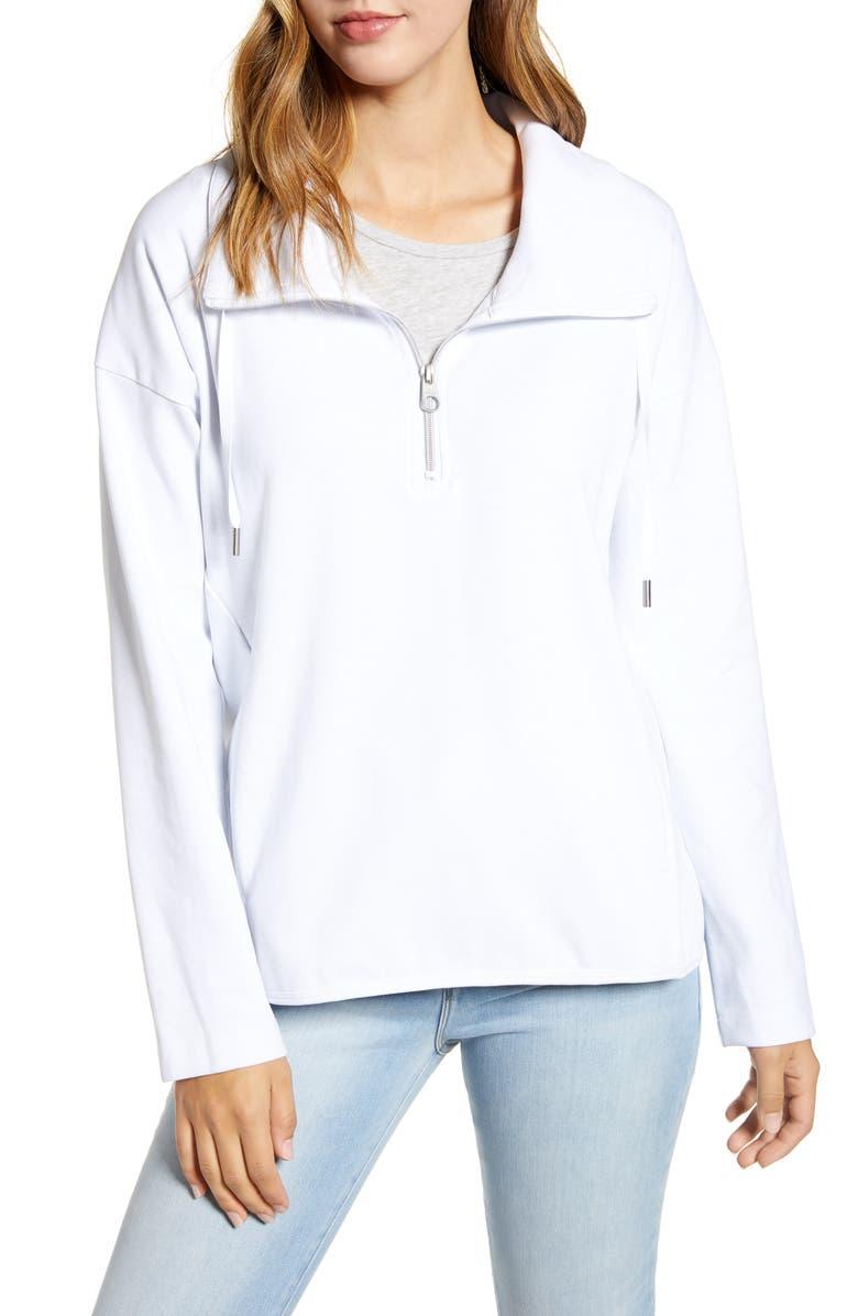 TOMMY BAHAMA Beachy Bay Half-Zip Pullover, Main, color, WHITE