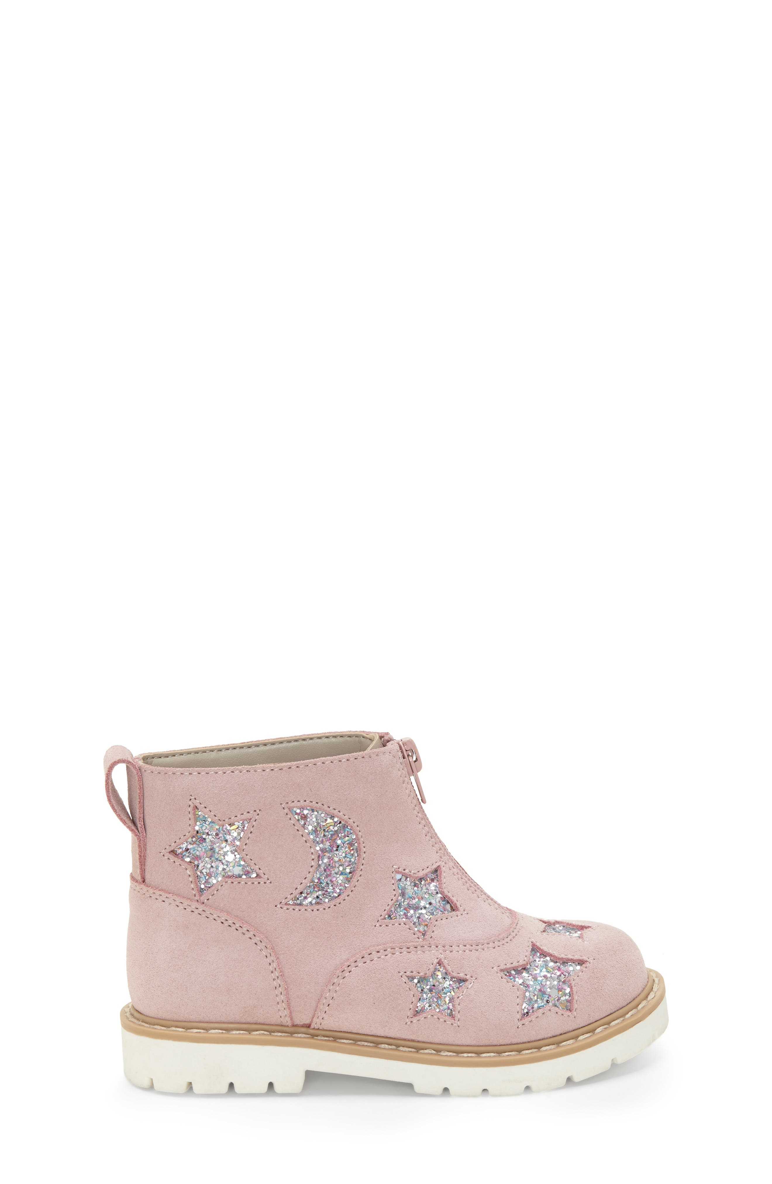 ,                             Aisha Glittery Front Zip Bootie,                             Alternate thumbnail 3, color,                             FAIRY PINK/ SILVER
