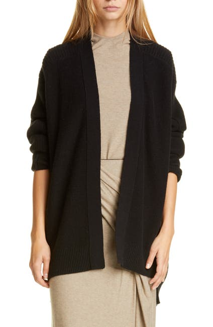 Image of Vince Ribbed Wool & Cashmere Cardigan