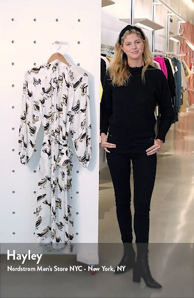 Kaia Long Sleeve Silk Midi Dress, sales video thumbnail