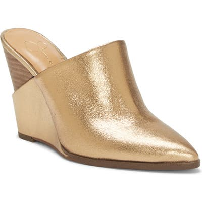 Jessica Simpson Helio Wedge Mule, Metallic