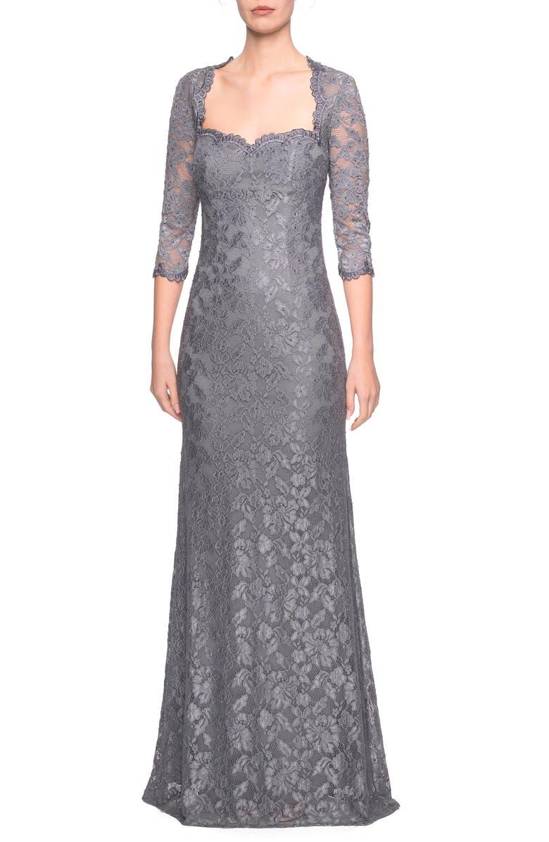 LA FEMME Lace Column Gown, Main, color, PLATINUM
