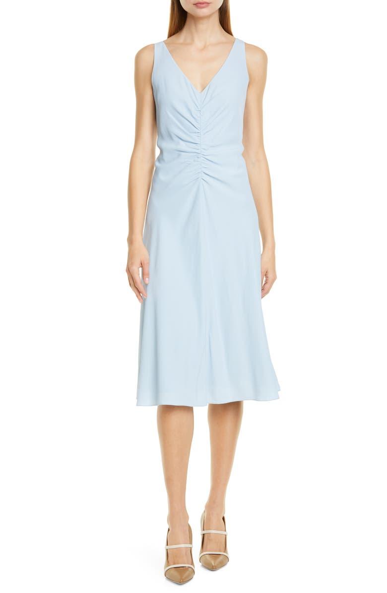 LEWIT Ruched Front V-Neck Midi Dress, Main, color, BLUE FOG