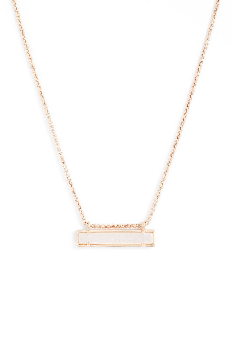 KENDRA SCOTT Leanor Pendant Necklace, Main, color, IRIDESCENT DRUSY/ ROSE GOLD