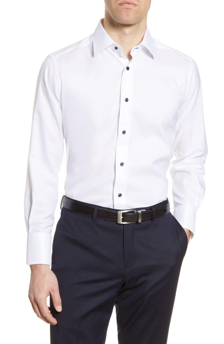 DAVID DONAHUE Trim Fit Dress Shirt, Main, color, 100