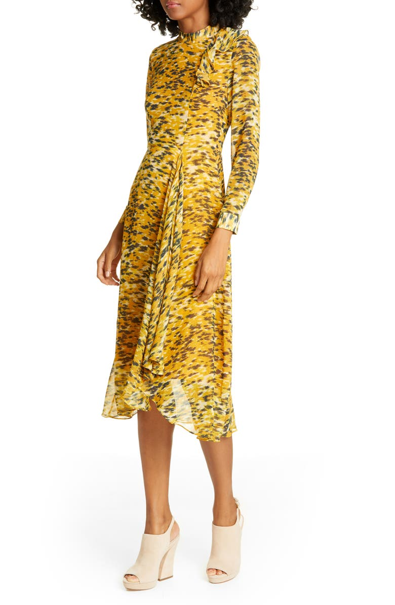 WHISTLES Ines Ikat Animal Print Long Sleeve Dress, Main, color, 700