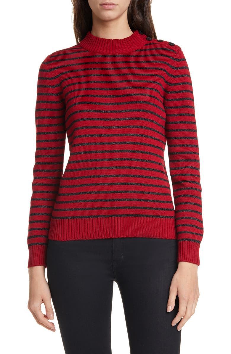 SAINT LAURENT Shimmer Stripe Cotton & Wool Blend Sweater, Main, color, ROUGE/NOIR BRILLANT